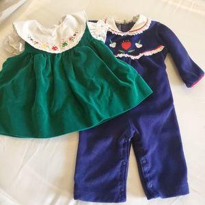 Vintage 80s Baby Velvet Dress and Romper bundle